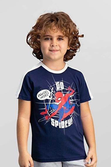 Spider-Man Spider Man Lisanslı Siyah Erkek Çocuk T-Shirt Lacivert